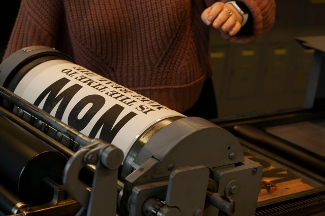 on the press